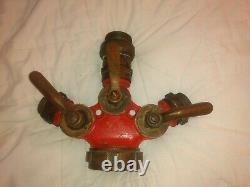 Vintage Powhatan Brass Fire Hose Three Way Splitter Nozzle