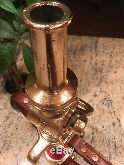 Vintage Rare Wooster Brass 21/2 Leather Handle Fire Nozzle Polished & Detailed