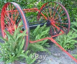 Vintage Steel Wheel Fire Hose Cart