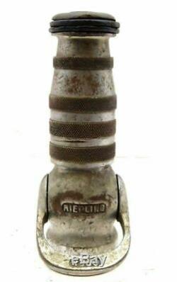 Vintage Valve Fire engine ladder Hose Chrome Nozzle Riepling Antique 8