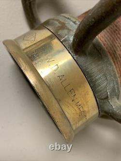 Vintage WD Allen Large 30 Solid Brass Fire Nozzle 2-1/2 with Smooth Bore Tip