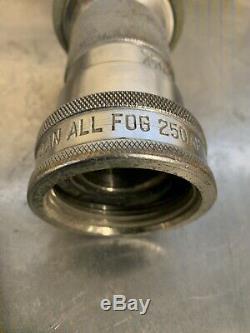 Vintage fire hose nozzle Potowan All-fog 250Ul Chrome Plated Brass