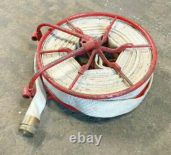 Wirt & Knox antique Fire Hose Reel approx 16 Diam. + 2 hose with brass fittings