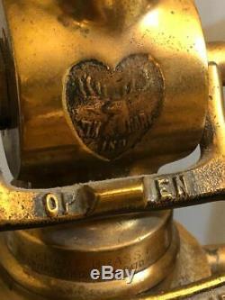 1917 Pompier Brass Fire Hose Buse Elkhart Coeur Lampe Elk