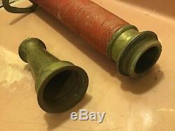20 Vintage Brass Fire Hose Nozzle Pompier Antique ^