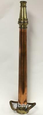30 Tall Antique Boston Coupling Co Copper & Brass Fire Hose Des Pompiers Nozzle