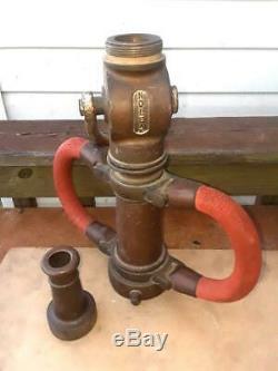 Akron Vintage Brass 1939 Noleak Fire Fire Buse On / Off Valve Avec Poignées Rouges