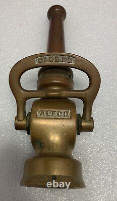 Alfco Brass Nozzle Chef Camion De Pompiers Buse Vintage Fireman Elkhart Tuyau En Laiton