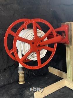 Antique 1900 Cliff & Guibert Nyc Reel Avec Niagara Fire Hose Wooster Brass Nozzle