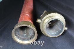 Antique 24 Large Brass & Cord Fire Hose Buse Brown Bro's & Co. Providence Ri