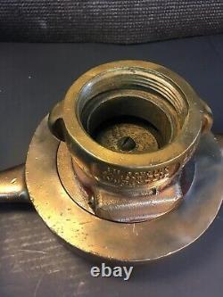Antique Brass 6 In. Bi Laterial Fire Hose Co. Chicago Ill. Plafond D'admission Avec 21/2 En