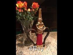 Antique Brass Elkhart Mfg. Co. 21/2 In. Poignée Cuir Laiton Buse Feu