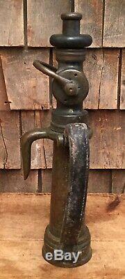 Antique Larkin Pompier De Sauvetage Tuyau Buse En Laiton W En Cuir Sangles Fd