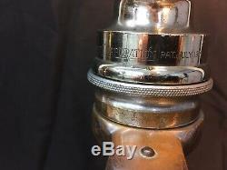 Antique Nickel / Brass Lafrance 21/2 In. Poignées En Cuir Avec Buse Feu Darley