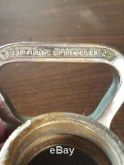 Antique Rockwood Sprinkler Co Laiton Lourd Feu Dept Lutte Contre Les Incendies Tuyau Buse