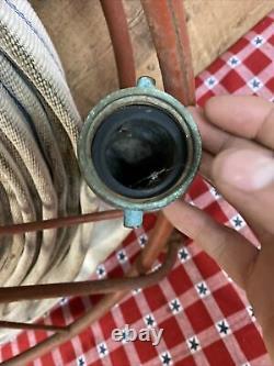 Antique Underwriter Laboratories Acier V-swing Fire Hose Reel With Hose