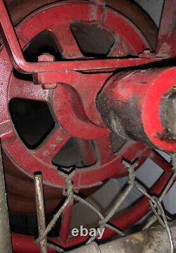Antique W&k Wirt & Knox Fire Hose Reel, Hose, And Nozzle