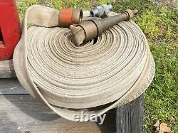 C. 1964 Fire Hose Wood Cabinet, U.s. Forestry Service, Outdoor, 8 Buse En Laiton