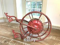 Early Antique Wirth & Co. Knox Fire Hose Reel Red