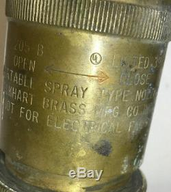 Early Brass Elkhart Lutte Contre L'incendie Tuyau Buse Pompier Pompier 205-b