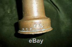 Laiton Antique Fire Hose Nozzle 12 Signé P. N. Y. 2 Lbs