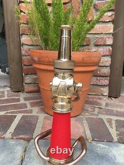 Laiton Vintage 21/2 In. Buse De Feu Avec Cordon Enveloppé Rouge Par Wooster Brass Co