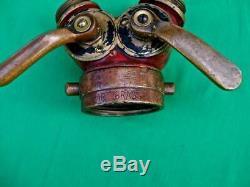 Old Brass Elkhart Double End Connexion Buse Tuyau D'incendie