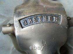 Old Old Fire Hose Buse Display Grether Brass 2 Poignées En Cuir Early Dayton Oh