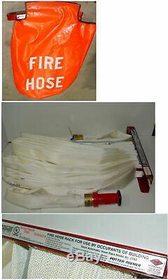 Potter Roemer 100' Tuyau D'incendie Avec Le Mont Rack Et Modèle Buse 2792 W Sac Farm Home