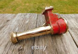 Rare Antique 1900's Fire Hose Nozzle 1-1/2npt Red Brass