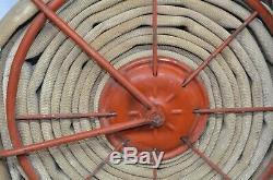Reel Vintage Tuyau D'incendie Buse Pompier Pompier Laiton Tissu De 1940 Goodyear