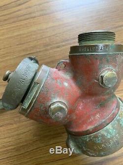 Thief Vintage Bouche D'incendie Tuyau D'eau En Laiton Wye Splitter Elkhart Male Ends