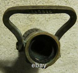 Vintage 2 Elkhart Brass Mfg. Co. Buse Solide De Tuyau D'incendie En Laiton. #l200 Sos