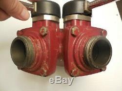 Vintage Akron Brass Modèle 1581 Tork-lok 2,5 Siamoise Gated Wye Valve Tuyau D'incendie