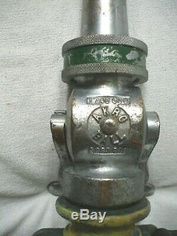 Vintage Akron Heavy Brass Feu Dept Pompiers Flexible Buse Withhandles Et 3/4 Tip