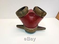 Vintage Bouche D'incendie Tuyau D'eau Wye Splitter Akron Brass Withmale Ends