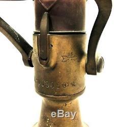 Vintage Brass Co Elkhart Mfg Laiton Massif Lourd Tuyau D'incendie Buse Belle Patina