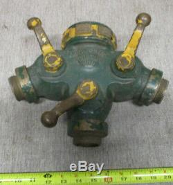 Vintage Brass Fire Hose Three Way Wye Valve Splitter Laiton Akron