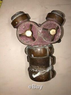 Vintage Brass Fire Hose Valve Splitter 3 À 2 Akron Brass 949