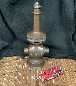 Vintage Elkart Brass Mfg. Co Chief Fire Hose Buse Grande Condition D'origine