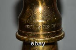 Vintage Fire Hose Nozzle Display Grether Akron Brass Wood Base 2 Poignées Tôt