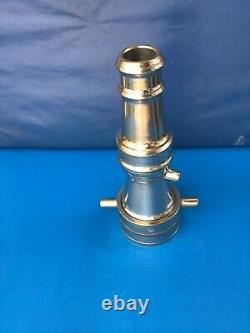 Vintage Nickel Brass Sameul Eastman Co. 21/2 In. / 11/2 Dans. Buse D'incendie