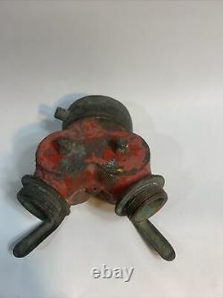 Vintage Powhatan Brass Fire Hose Hydrant Splitter Nozzle Two Male Ends