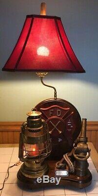 Vintage Rare Personnalisé Service D'incendie Abat Americana Lanterne Buse Plaque