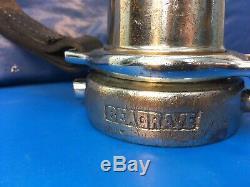 Vintage Seagrave Chrome / Laiton 21/2 In. Jouer À Tuyau D'incendie Buse / Am. Lafrance Conseil