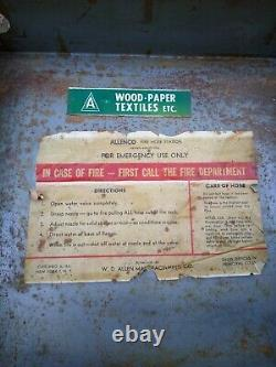 Vintage Toile Allenco Fire Hose Station Cabinet, Buse En Laiton, Laiton Spigot 1968