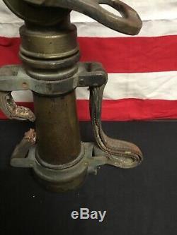 Vintage Wooster Brass Pompier Tuyau D'eau Buse Original En Cuir