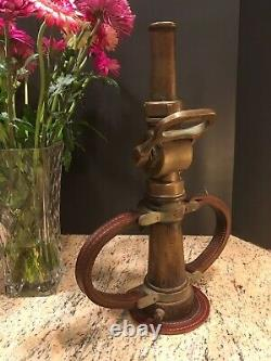 Vintage Wooster Laiton 2 1/2 In. Buse De Feu Avec Poignées En Cuir