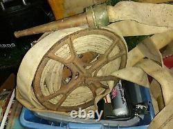Vtg Fire Hose Reel Cast Iron Industrial Steampunk Art Déco W D Allen Co Pompier