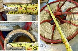 Wirt & Knox Antique Fire Hose Reel Environ 16 Diam. + 2 Tuyau Avec Raccords En Laiton